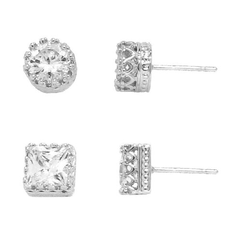 Cubic Zirconia Stud Earring (Set of 2)