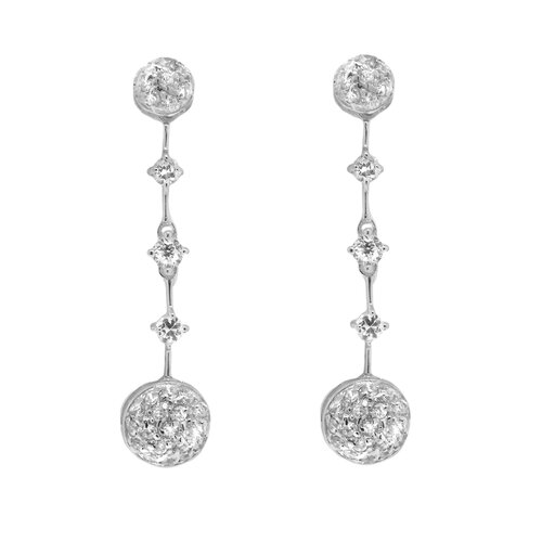 Shimmering Round Stations Cubic Zirconia Dangling Earring