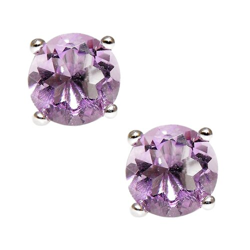 Round Cut Genuine Amethyst Brilliant Stud Earring
