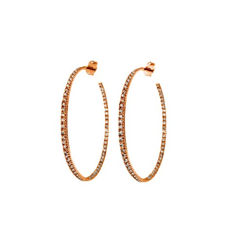 Moise Cubic Zirconia Inside Out Hoop Earring