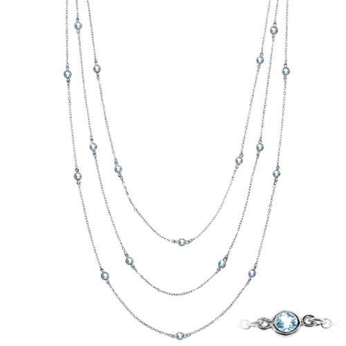 Sterling Silver Round Cut Topaz Necklace