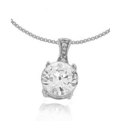 Sterling Silver 925 Round Brilliant Cut Cubic Zirconia Pendant Necklace with Chain