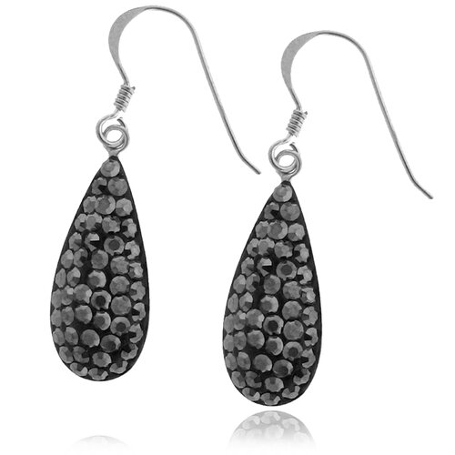 Sterling Silver 925 Crystal Teardrop Dangle Earrings