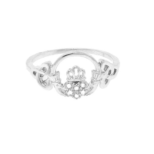 Sterling Silver Claddagh Genuine Diamond Ring