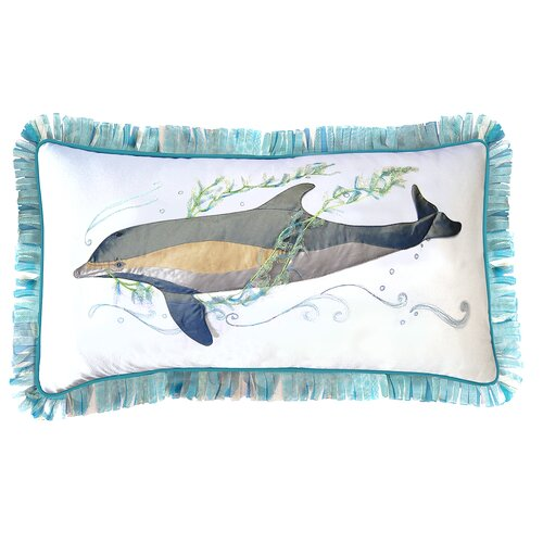 I Sea Life Gem of the Sea Indoor Cotton Dolphin Applique Pillow