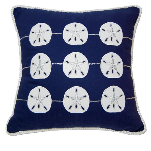 Rightside Design I Sea Life Embroidered and Appliqué Sand Dollar Pillow