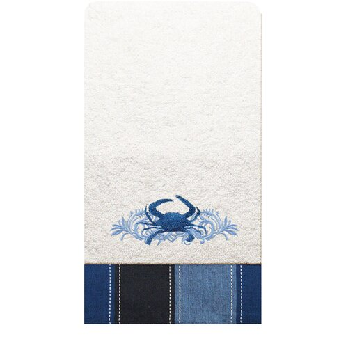 Rightside Design I Sea Life Embroidered Crab Hand Towel (Set of 2)
