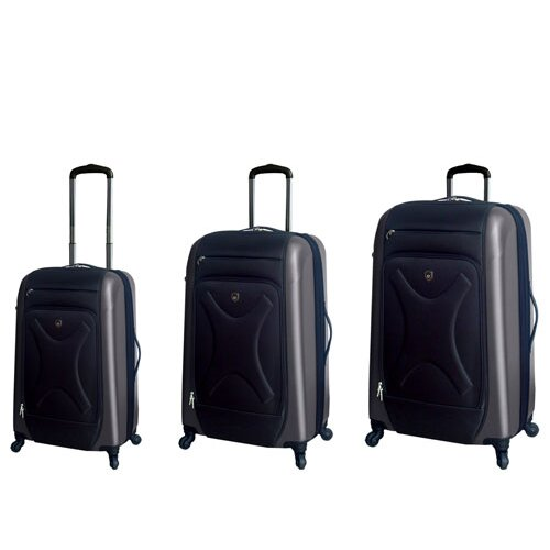 Cruz Embossed 3 Piece Hybrid Luggage Set