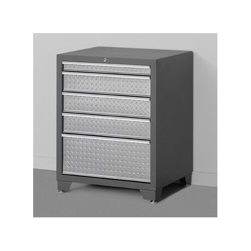 """NewAge Products Pro Diamond Plate 28"""" Wide 5 Drawer Bottom Cabinet"""