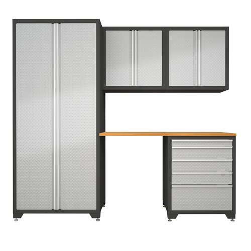 NewAge Products Pro Diamond Plate 7' H x 8' W x 2' D 5-Piece Cabinet Set