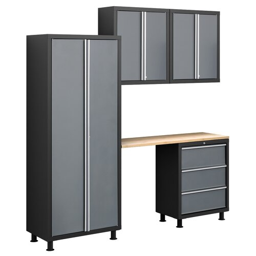 Bold Series 6' H x 7' W x 1.5' D 5-Piece Cabinet Set with Locker ...
