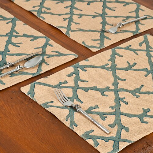 Ecoaccents Coral Lattice Burlap Placemat