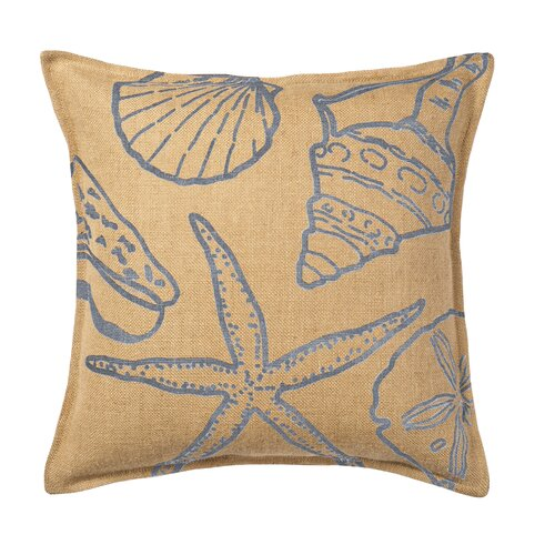 Shell Print on Washed Cotton Canvas and Burlap Pillow