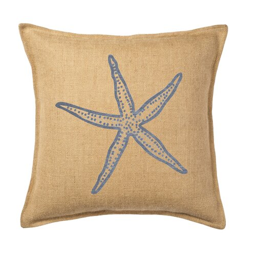 Ecoaccents Starfish Print on Washed Cotton Canvas and Burlap Pillow