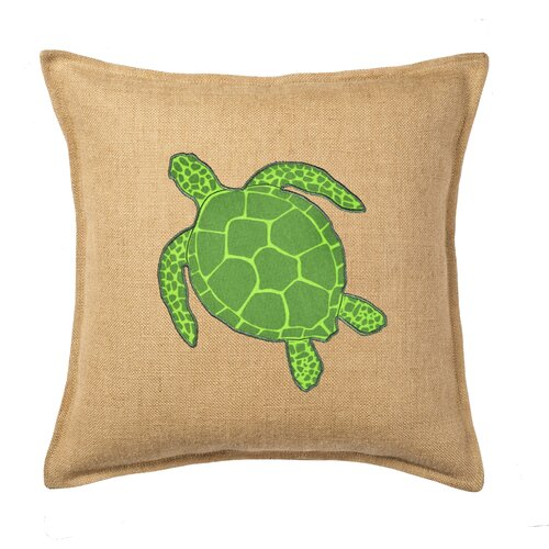 Turtle Applique on Washed Cotton Canvas and Burlap Pillow
