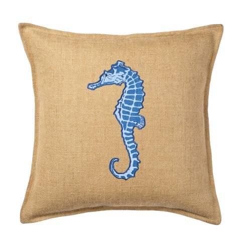 Seahorse Applique on Washed Cotton Canvas and Burlap Pillow