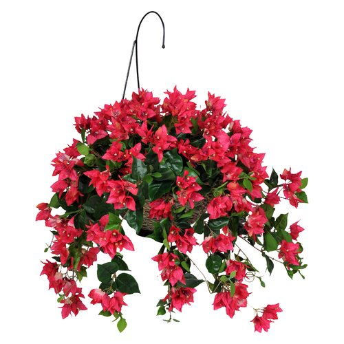 Hanging Flower Basket Maintenance : Artificial bougainvillea hanging plant in basket wayfair