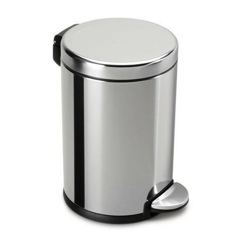 Simplehuman 4 5 l 1 2 gal mini round step trash can for Covered bathroom wastebasket