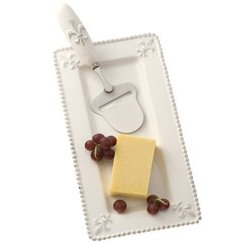 October Hill Fleur De Lis Cheese Plate and Pull