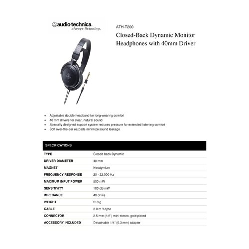 Audio-Technica Closed-Back Dynamic Monitor Headphones Driver
