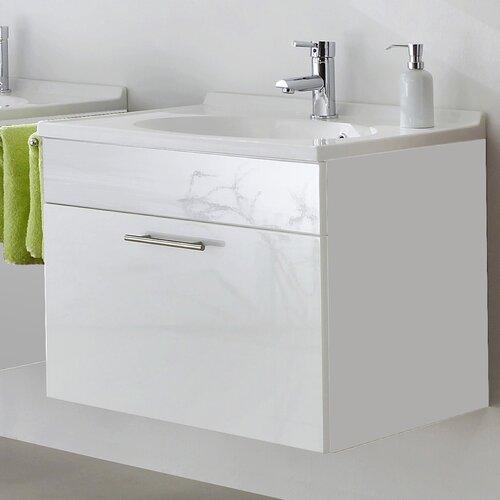 Montreal 70cm Wash Basin Base Cabinet In High Gloss Walnut