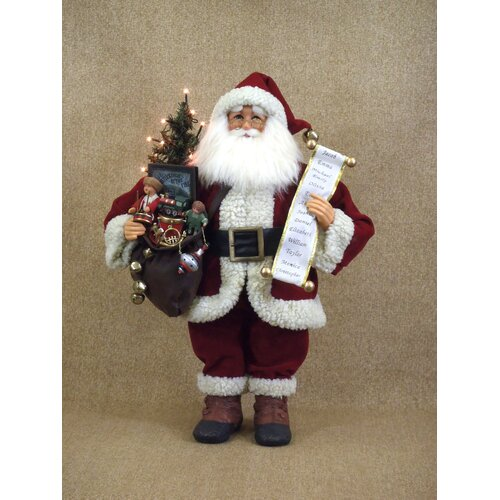 Karen Didion Originals Crakewood Lighted Vintage Gift Bag Santa Claus Figurine