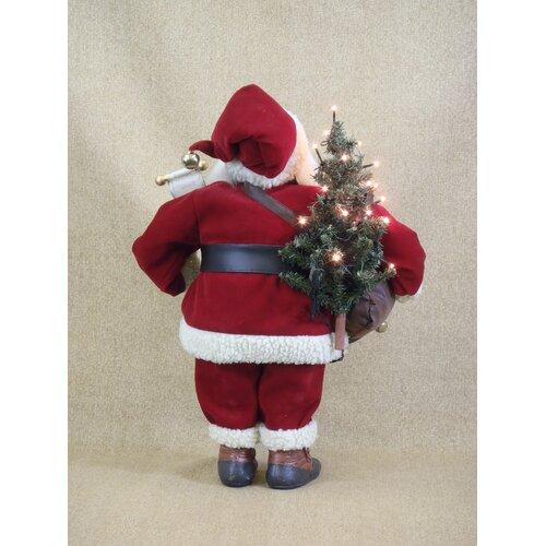 Karen Didion Originals Crakewood Lighted Vintage Gift Bag Santa Claus Figurine