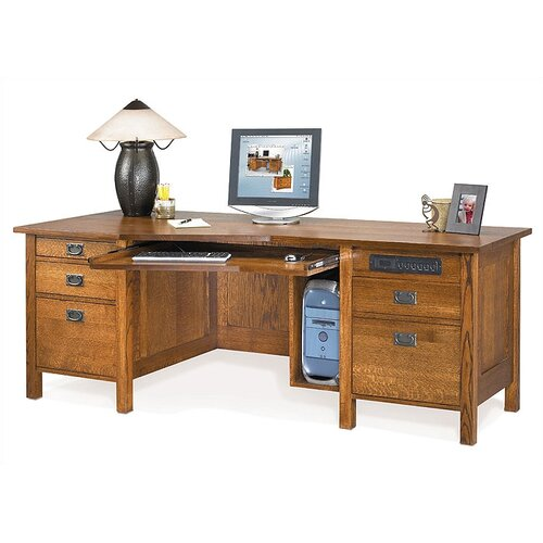 "Anthony Lauren Craftsman Home Office 82"" W Angle Computer Desk"