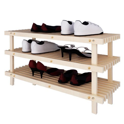 Pine Solid Wood 3-Tier Shoe Rack