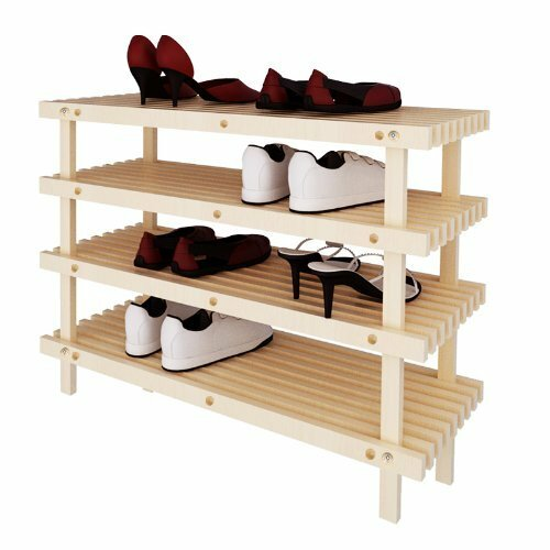Pine Solid Wood 4-Tier Shoe Rack
