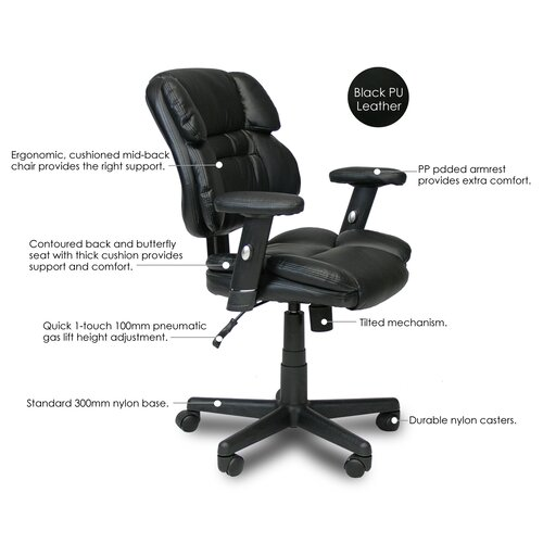 Furinno Hidup Mid-Back Leather Executive Chair