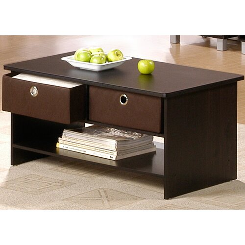 Furinno 1000 Series Center Coffee Table With Bin Drawers