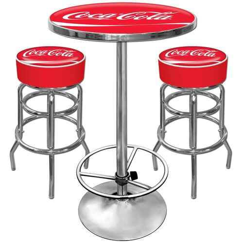 Trademark Global Coca Cola Ultimate Gameroom 3 Piece Bar Stool Table Set