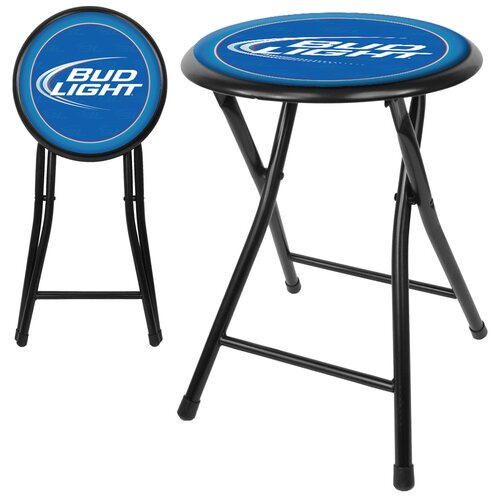 "Trademark Global 18"" Bud Light Folding Bar Stool with Cushion"