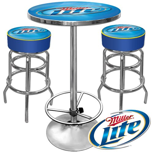 Ultimate Miller Lite Game Room 3 Piece Pub Table Set