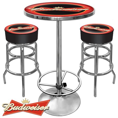 Ultimate Budweiser Game Room 3 Piece Pub Table Set