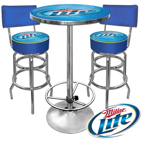 Trademark Global Miller Lite 3 Piece Pub Table Set