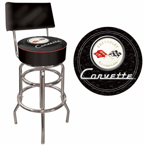 Trademark Global Corvette C1 Swivel Bar Stool with Cushion