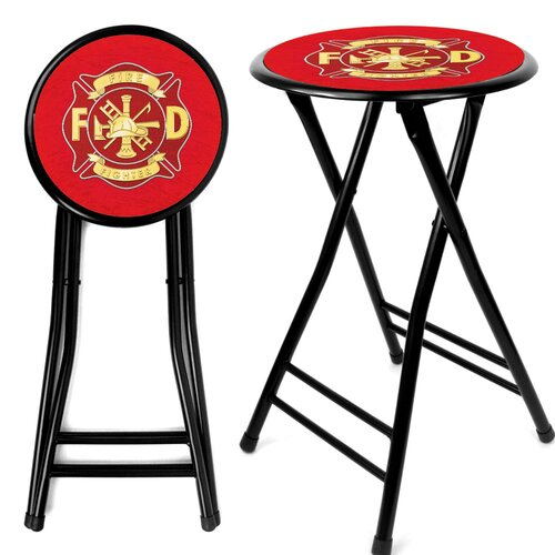 "Trademark Global 24"" Fire Fighter Bar Stool with Cushion"