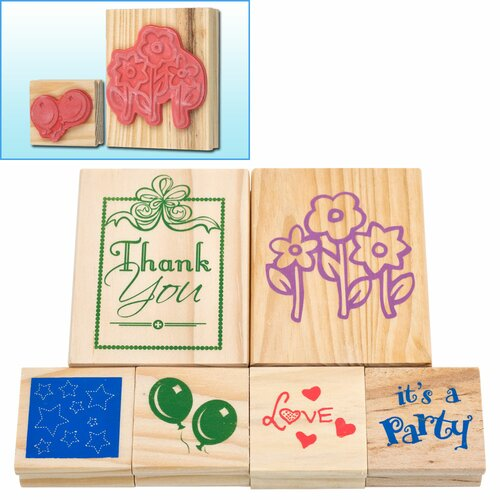 Trademark Global 6 Piece Wood Mounted Rubber Stamp Set