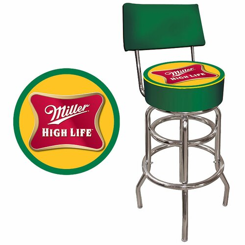 Trademark Global Miller High Life Bar Stool with Cushion