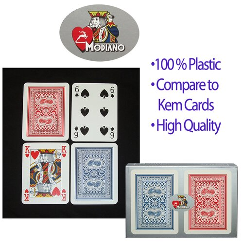 Trademark Global Modiano 100% Plastic Poker Size Regular Index Setup
