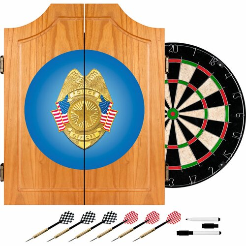 Trademark Global Police Officer Wood Dart Cabinet Set