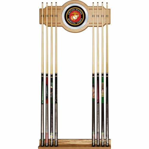 Trademark Global United States Marine Corps Billiard Cue Rack with Mirror