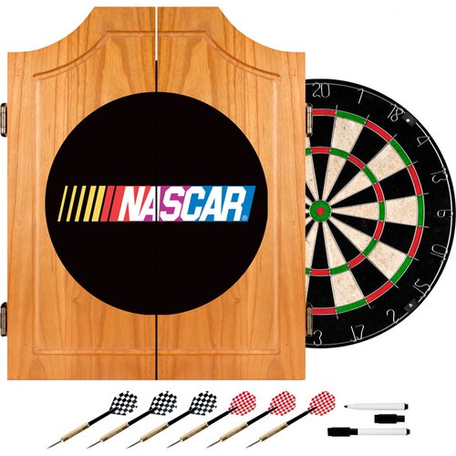 NASCAR Beveled Wood Dart Cabinet Set