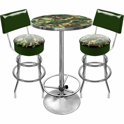 Trademark Global Hunt Camo Game Room 3 Piece Pub Table Set