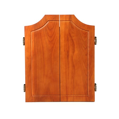 Trademark Global TGT Beveled Wood Dart Cabinet with Pro Style Board and Darts