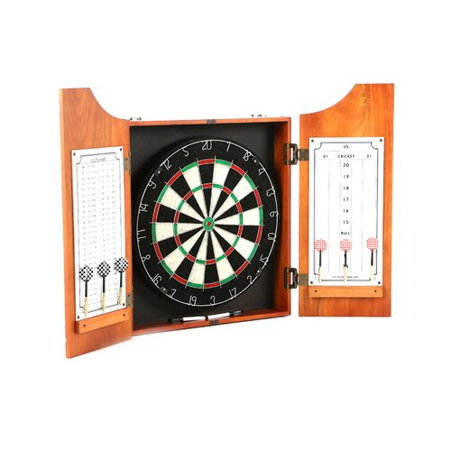 TGT Beveled Wood Dart Cabinet with Pro Style Board and Darts