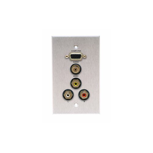 Comprehensive Single Gang Wall Plate in Kyde x White (HD15, Stereo Mini, 3RCA- Passthru)