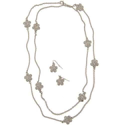 Silvertone Pave Crystal Daisy Necklace and Earring Set